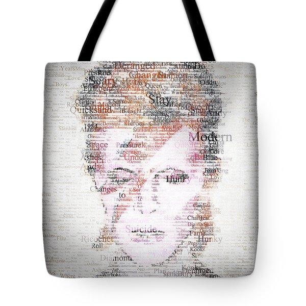 Bowie Typo Tote Bag by Taylan Apukovska