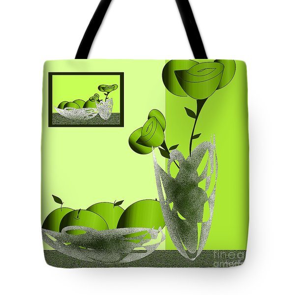 Fruit And Flowers In Green Tote Bag