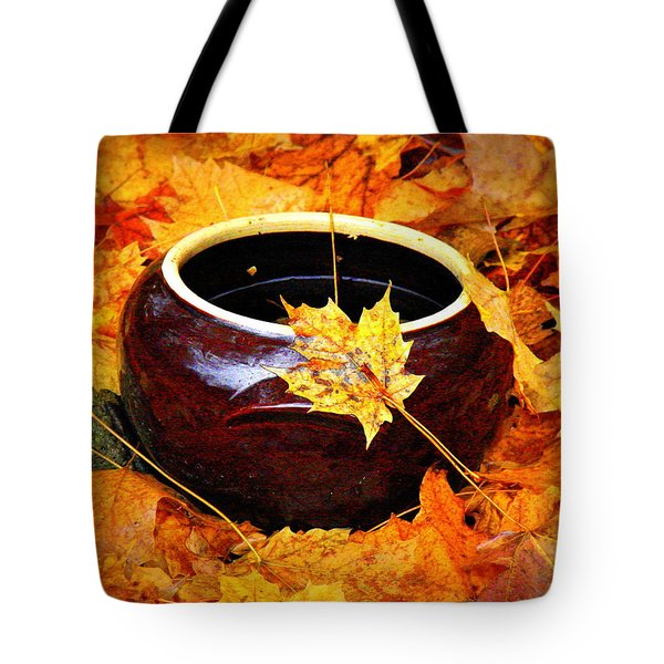Tote Bag featuring the photograph Bowl And Leaves by Rodney Lee Williams