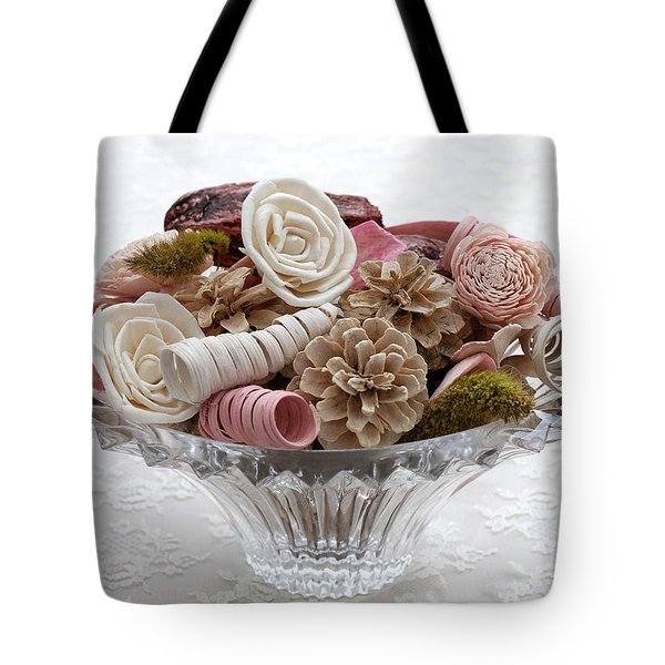 Bowl Of Potpourri On Lace Tote Bag
