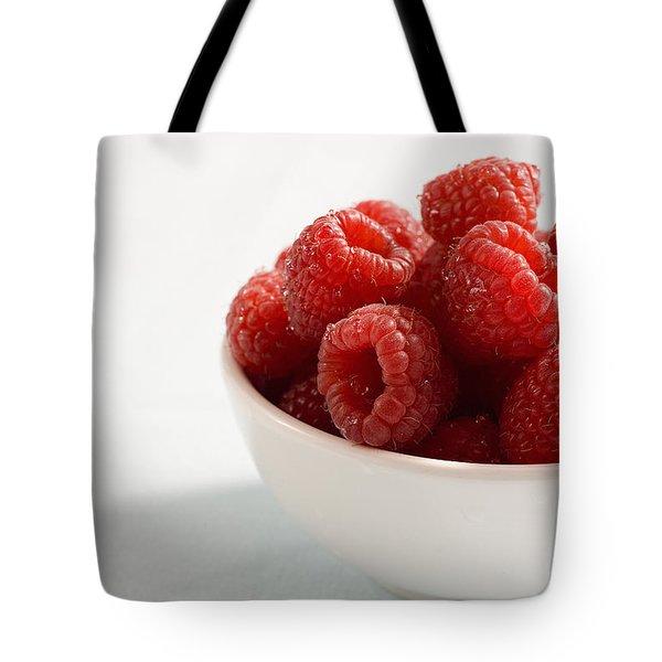 Bowl Of Raspberries Tote Bag by Greg Huszar Photography