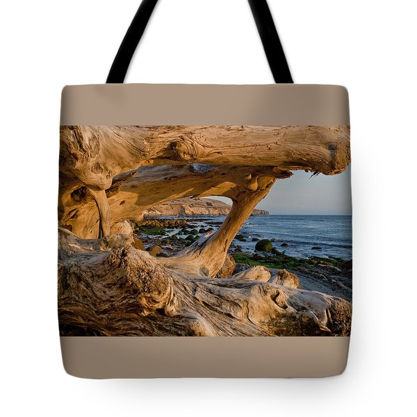 Bowling Ball Beach Framed In Driftwood Tote Bag by Patricia Sanders