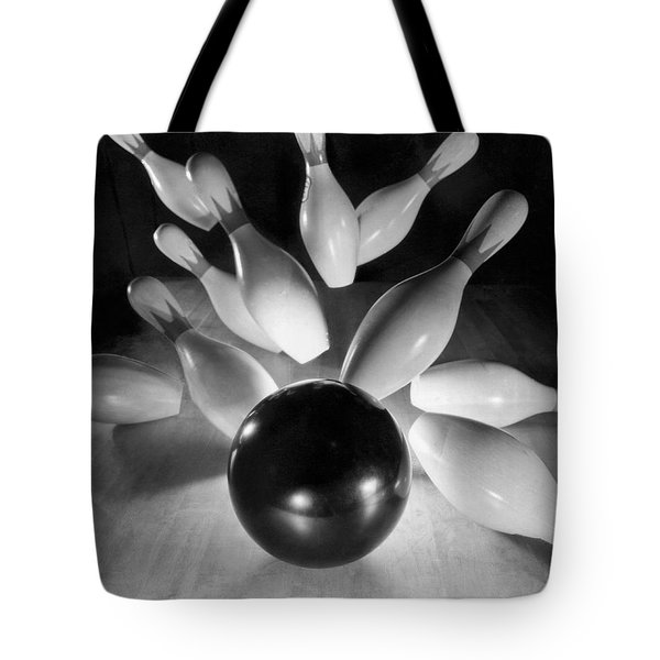 Bowling Ball Strikes Pins Tote Bag by Underwood Archives