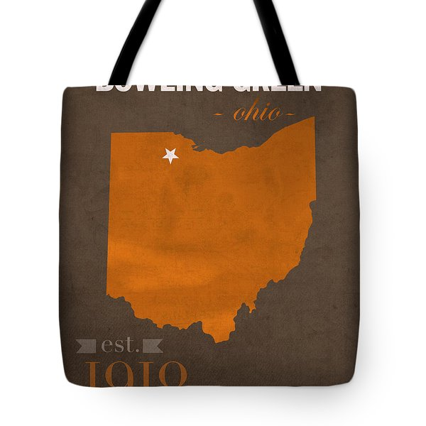 Bowling Green State University Falcons Ohio College Town State Map Poster Series No 021 Tote Bag by Design Turnpike