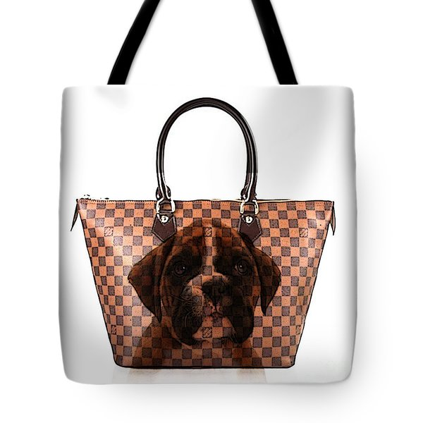 Boxer Pup Hand Bag Painting Tote Bag by Marvin Blaine