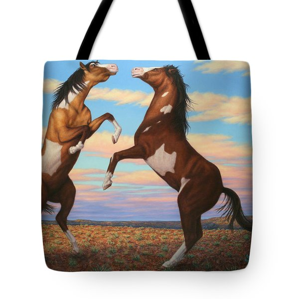 Boxing Horses Tote Bag by James W Johnson