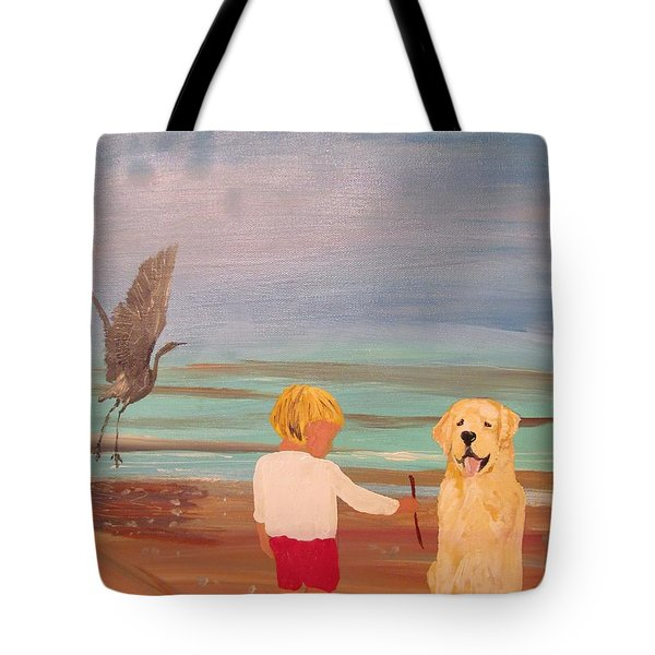 Boy And Dog Tote Bag