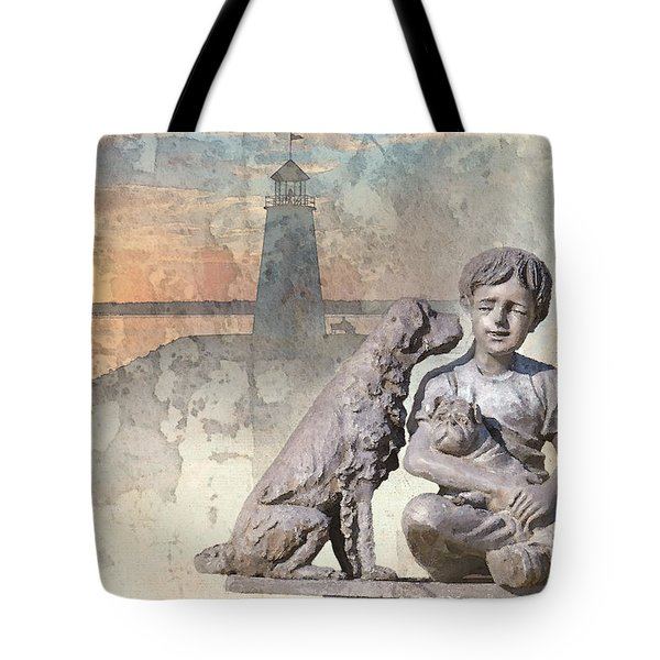 Boy And His Dogs Sculpture Tote Bag by Betty LaRue