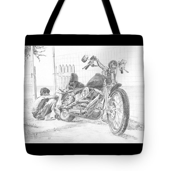 Boy And Motorcycle Tote Bag