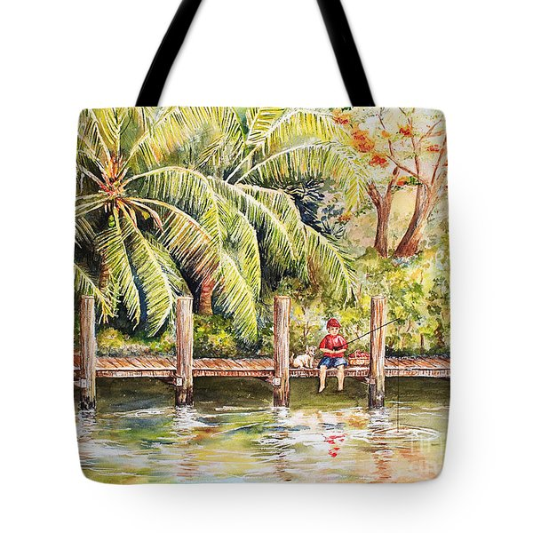 Boy Fishing With Dog Tote Bag