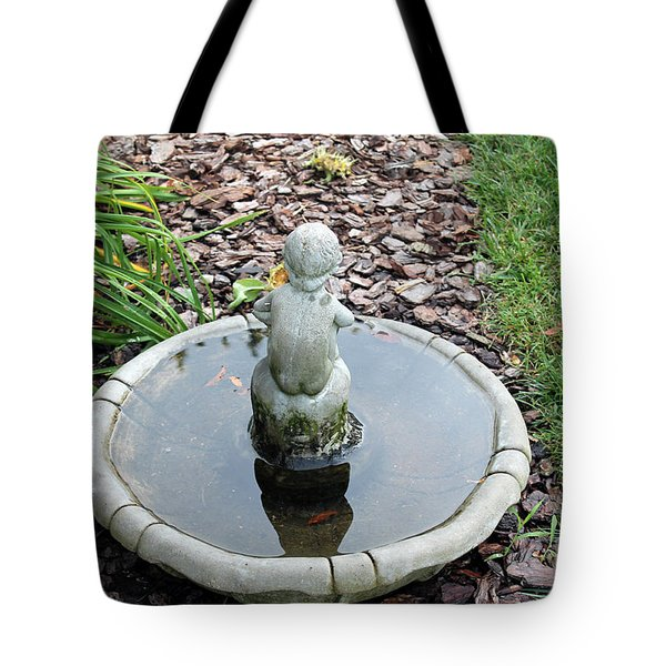 Boy In A Bird Bath Tote Bag