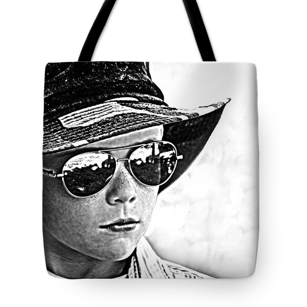 Boy In Aviators Tote Bag