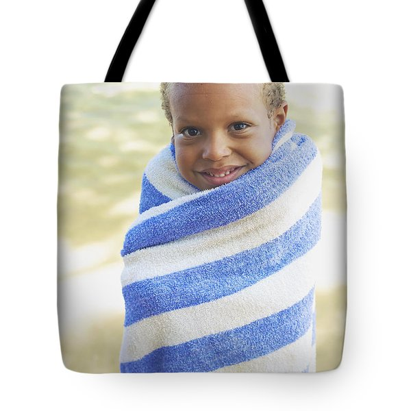 Boy In Towel Tote Bag by Kicka Witte