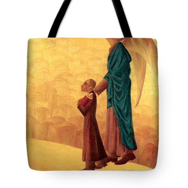 Boy Leading The Blind Angel Tote Bag