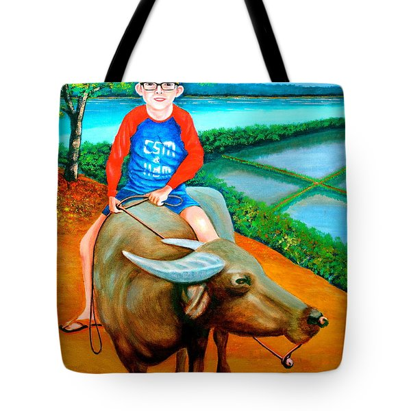 Boy Riding A Carabao Tote Bag by Lorna Maza