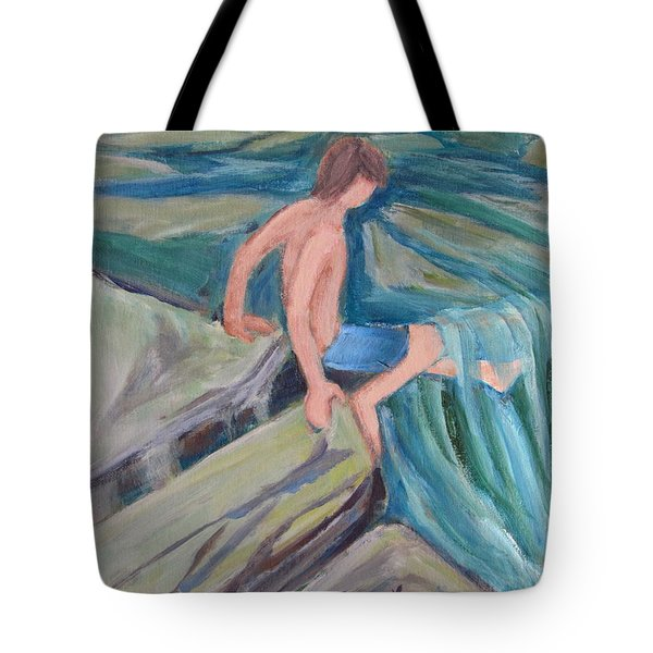 Boy With Foot In Falls Tote Bag