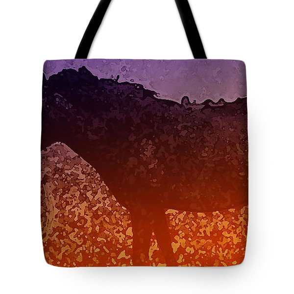 Tote Bag featuring the digital art Boy With Horse by Cathy Anderson