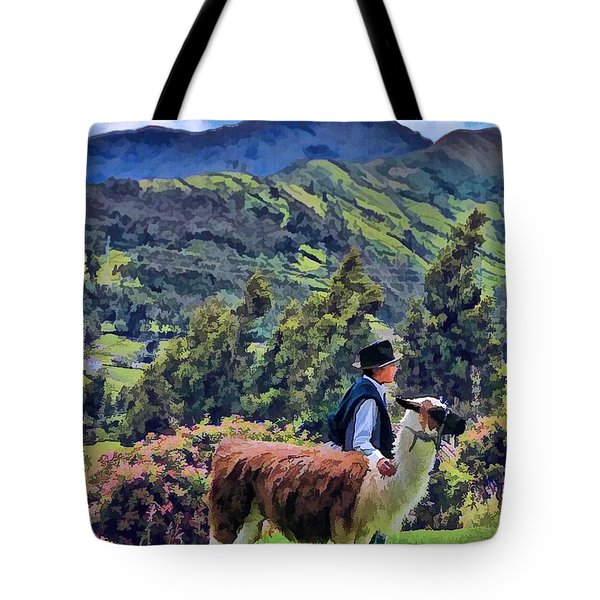 Boy With Llama  Tote Bag