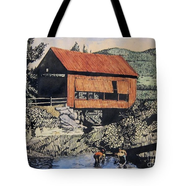 Boys And Covered Bridge Tote Bag by Joseph Juvenal