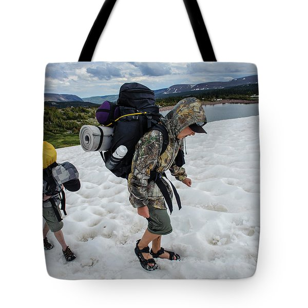 Boys Cross A Snowfield Above Five Point Tote Bag