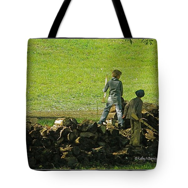 Tote Bag featuring the photograph Boys Will Be Boys by Kathy Barney