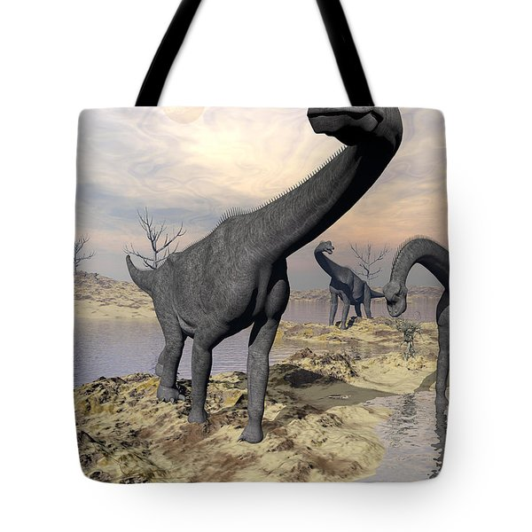 Brachiosaurus Dinosaurs Near Water Tote Bag by Elena Duvernay