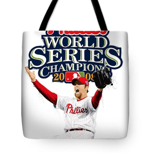 Brad Lidge Ws Champs Logo Tote Bag by Scott Weigner