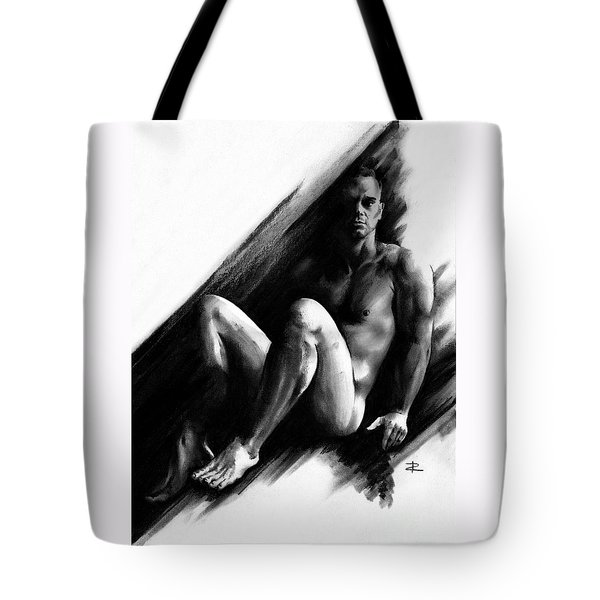 Tote Bag featuring the drawing Bradley by Paul Davenport