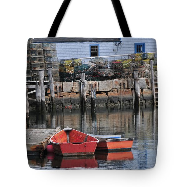 Bradley Wharf Dinghies Tote Bag by Mike Martin