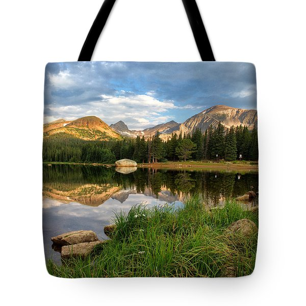 Brainard Lake Reflections Tote Bag by Ronda Kimbrow
