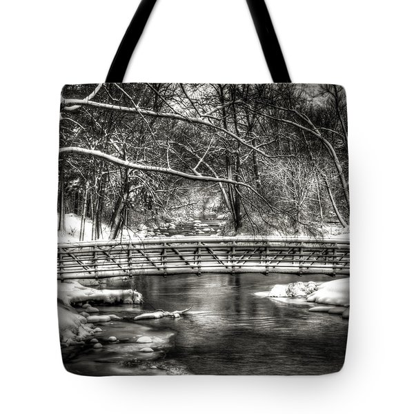 Brainards Bridge After A Snow Storm 3 Tote Bag by Thomas Young