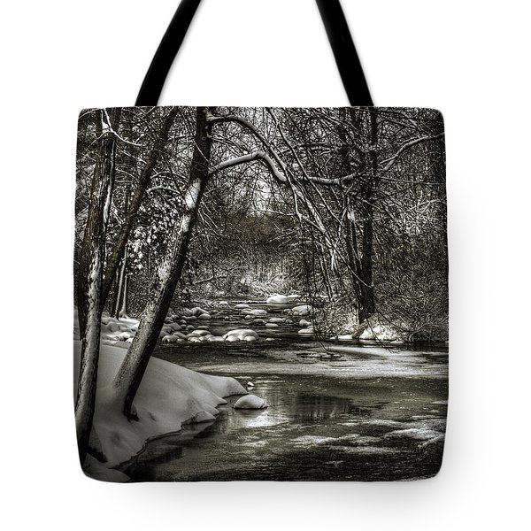 Brainards Bridge After A Snow Storm 4 Tote Bag by Thomas Young