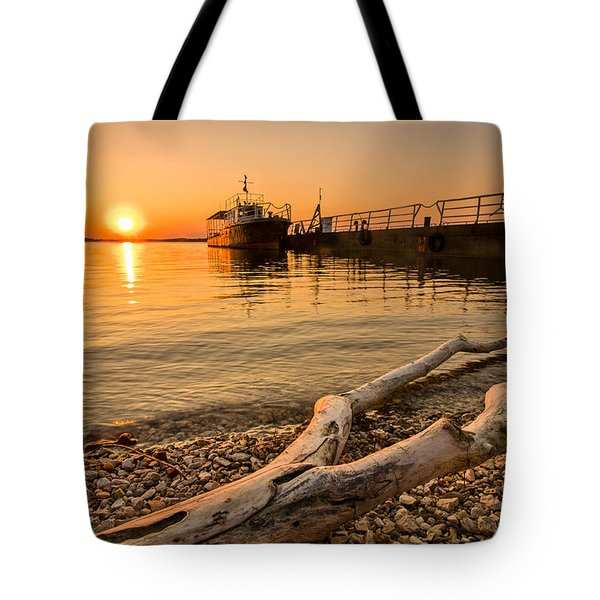 Branch Barge And Sunset Tote Bag by Davorin Mance