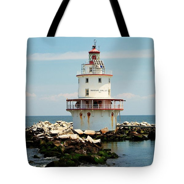 Brandywine Shoal  Lighthouse Tote Bag by Nick Zelinsky