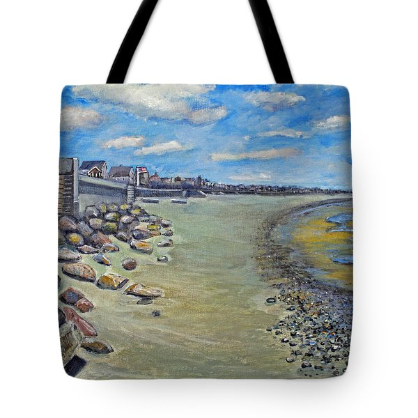 Tote Bag featuring the painting Brant Rock Beach by Rita Brown