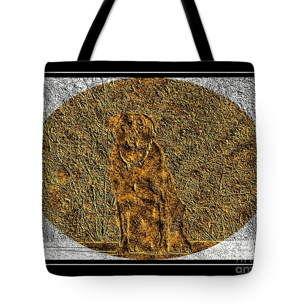 Brass Etching - Oval - Labrador Retriever Tote Bag by Barbara Griffin