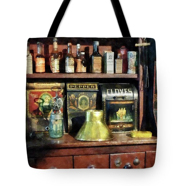 Brass Funnel And Spices Tote Bag by Susan Savad