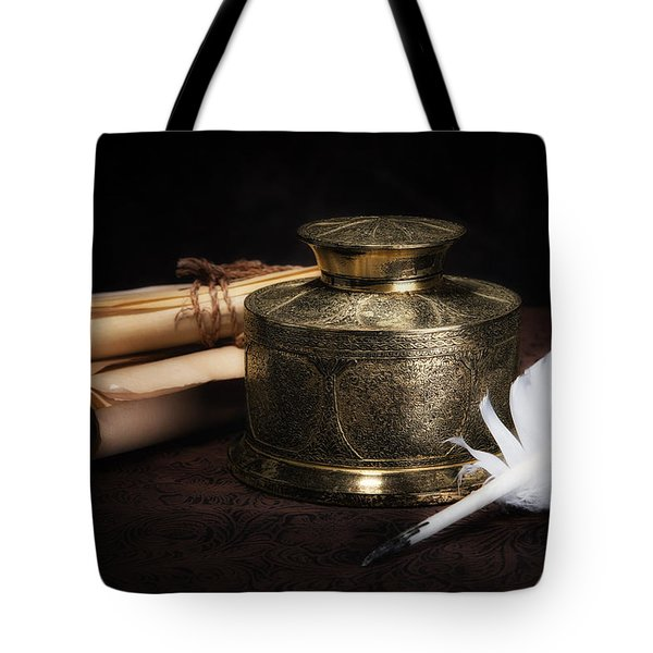 Brass Inkwell Still Life Tote Bag