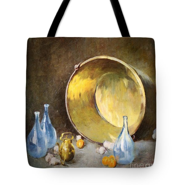Tote Bag featuring the digital art Brass Kettle With Blue Bottles After Carlsen by Lianne Schneider