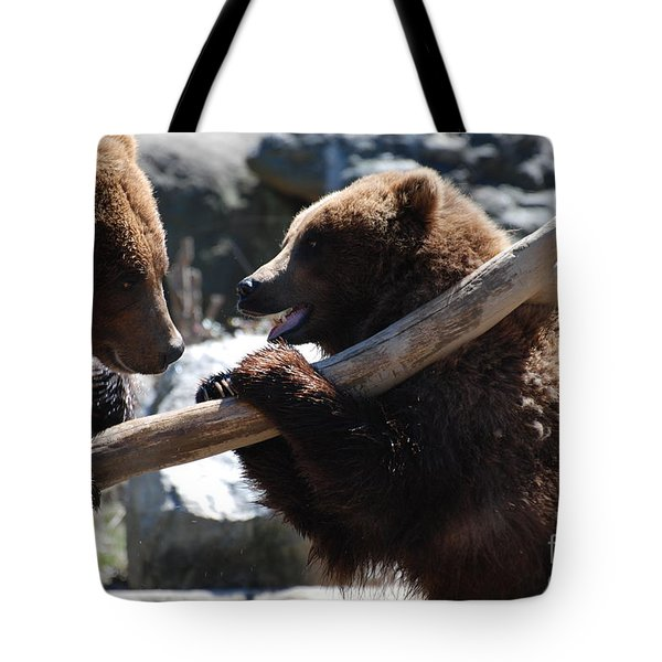 Brawling Bears Tote Bag by DejaVu Designs