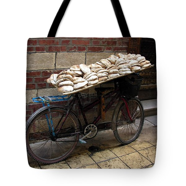 Tote Bag featuring the photograph Bread To Go In Cairo by Jacqueline M Lewis