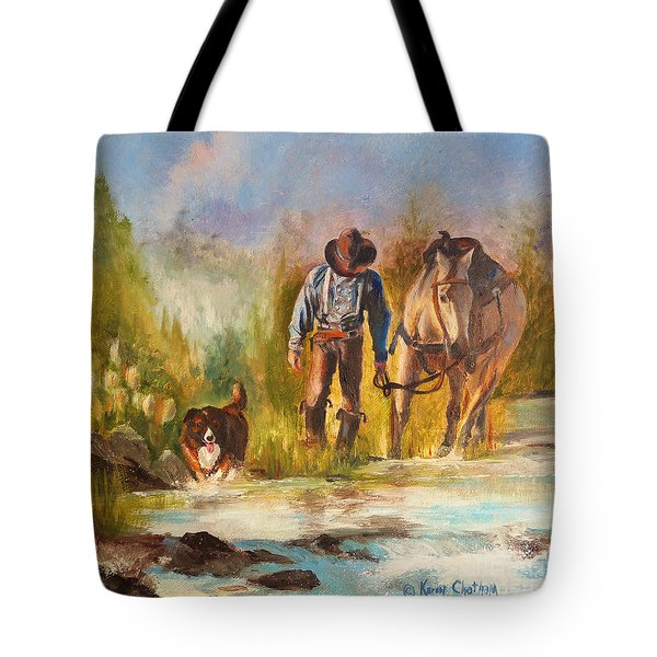 Tote Bag featuring the painting Break For The Ride by Karen Kennedy Chatham