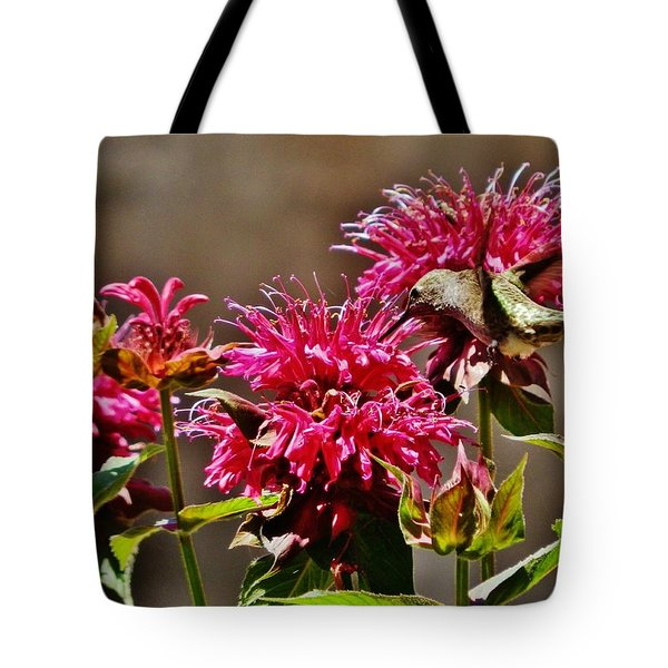 Tote Bag featuring the photograph Breakfast At The Bee Balm by VLee Watson