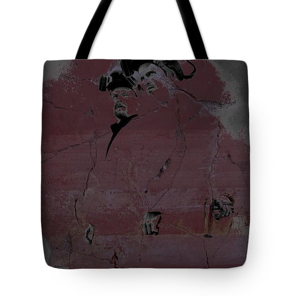 Tote Bag featuring the digital art Breaking Bad Concrete Wall by Brian Reaves