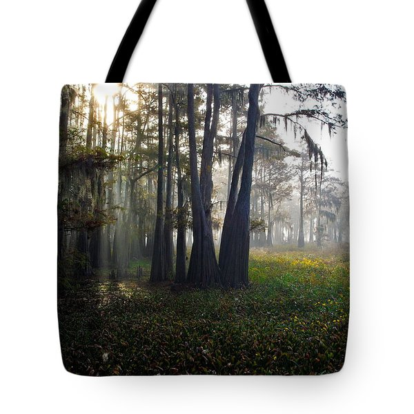 Breaking Through Morning Fog Tote Bag