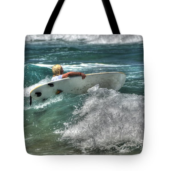 Tote Bag featuring the photograph Breaking Waves by Julis Simo