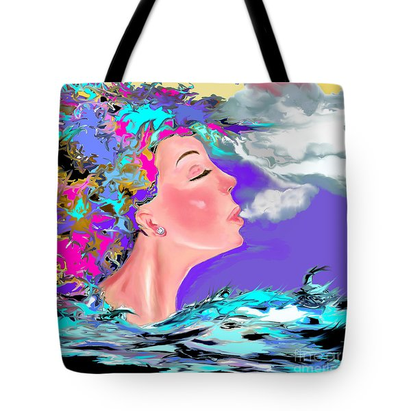 Tote Bag featuring the drawing Just Breathe by Lori  Lovetere