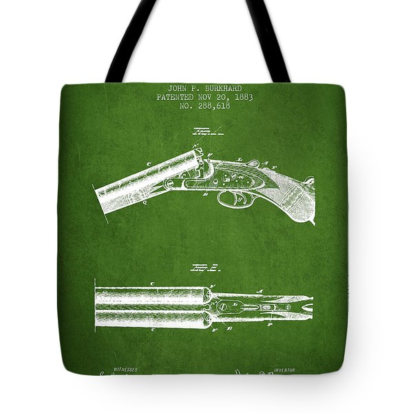 Breech Loading Gun Patent Drawing From 1883 - Green Tote Bag