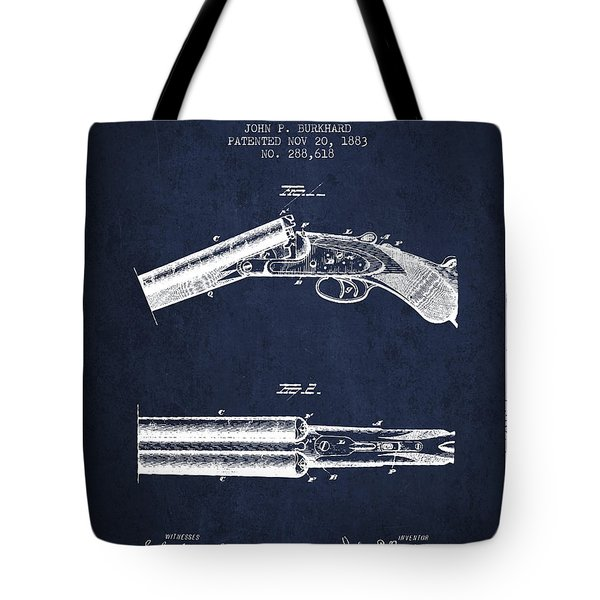 Breech Loading Gun Patent Drawing From 1883 - Navy Blue Tote Bag