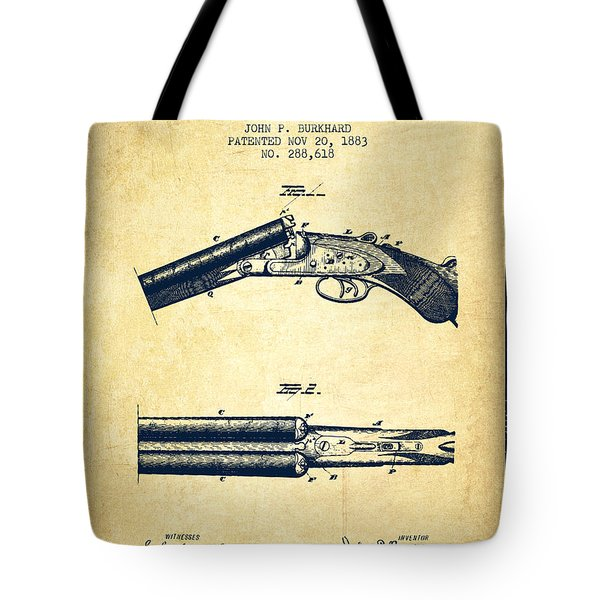 Breech Loading Gun Patent Drawing From 1883 - Vintage Tote Bag